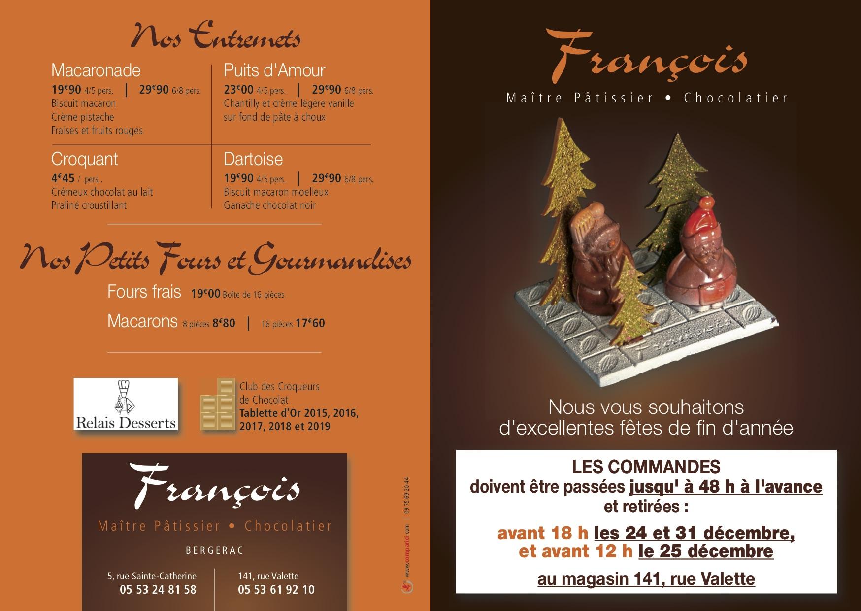 Dépliant Desserts Noël François 11-2018