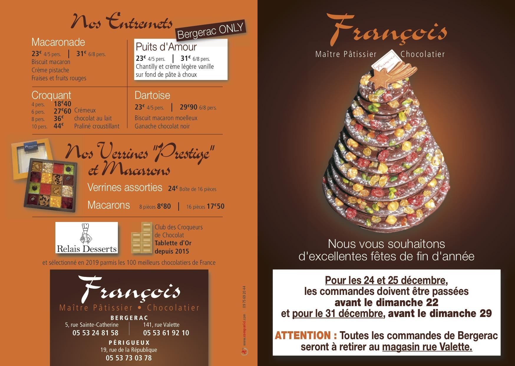 Dépliant Desserts Noël François 11-2019